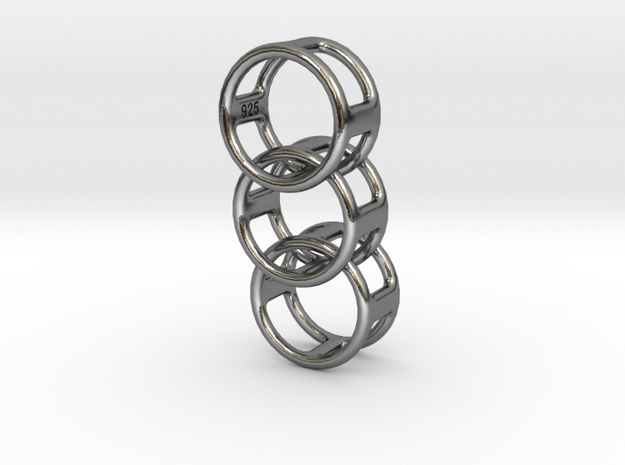 Interlocking Pendant RD 925 Rev. in Polished Silver (Interlocking Parts)