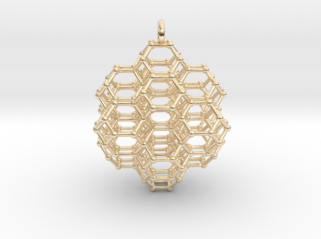 Truncated Octahedral Honeycomb - 28mm in 14k Gold Plated Brass