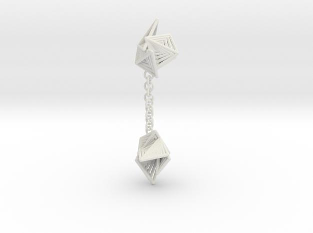 Tetryn Dangle Earrings Small in White Natural Versatile Plastic