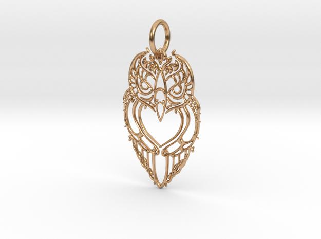 Aztec Filigree Owl Pendant in Polished Bronze