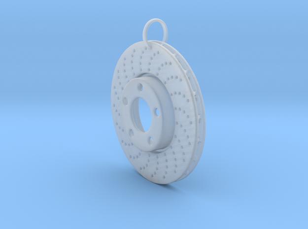 Drilled braking disc keychain in Smooth Fine Detail Plastic