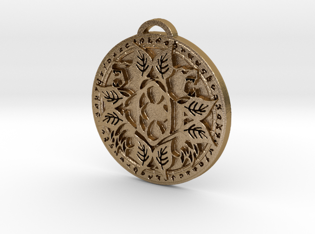 Druid Class Medallion in Polished Gold Steel