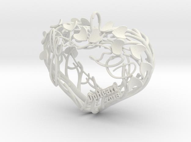 Heart Branches - Ornament in White Natural Versatile Plastic: Small