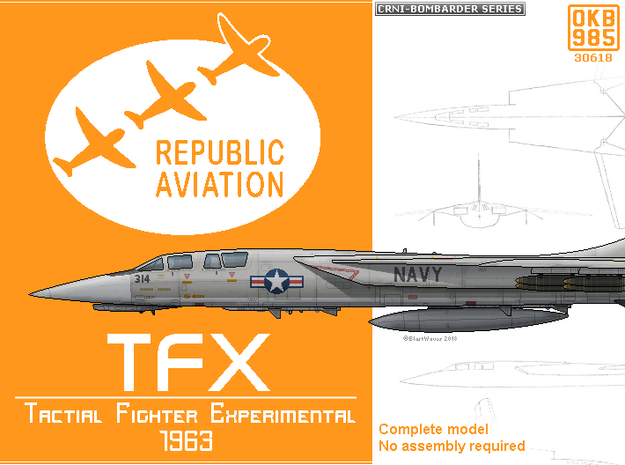 Republic TFX Fighter Proposal in White Natural Versatile Plastic: 1:200