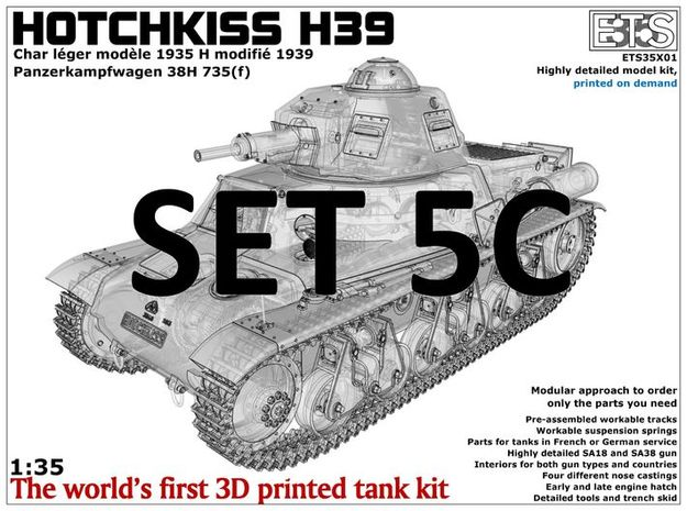 ETS35X01 Hotchkiss H39 - Set 5 option C - SA38 in Smooth Fine Detail Plastic