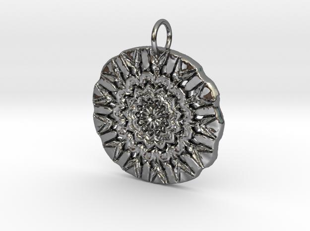 Native Flower Arrow Shield Pendant in Fine Detail Polished Silver: Medium