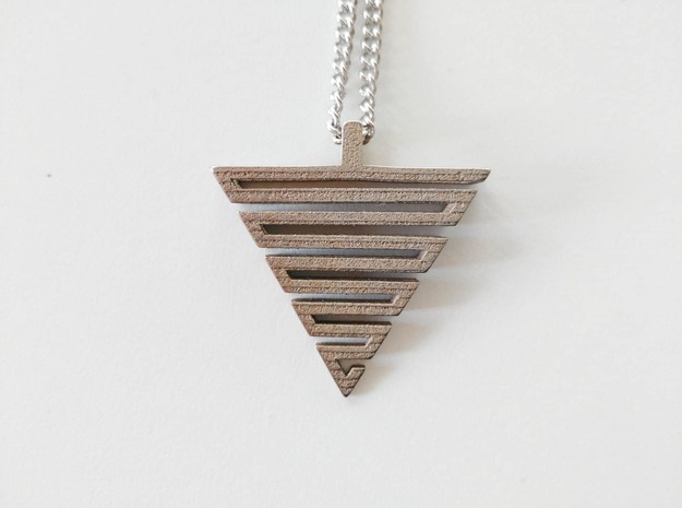 Labirinth pendant in Polished Bronzed-Silver Steel