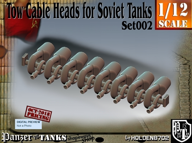 1/12 Soviet Tank Tow Cable HEADS Set002 in White Natural Versatile Plastic