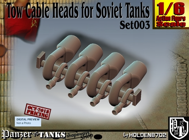1/6 Soviet Tank Tow Cable HEADS Set003 in White Natural Versatile Plastic