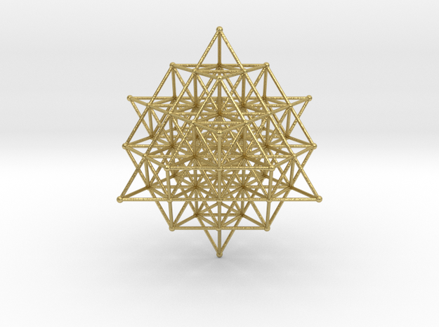 64 Grid Tetrahedron 65x1 Mm in Natural Brass