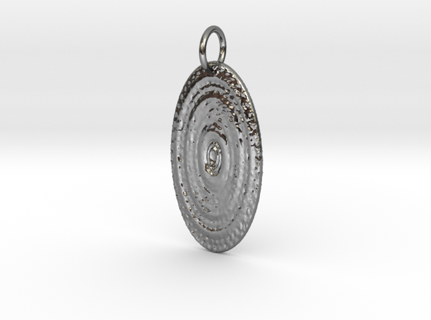 Sun Disc Pendant in Fine Detail Polished Silver: Small