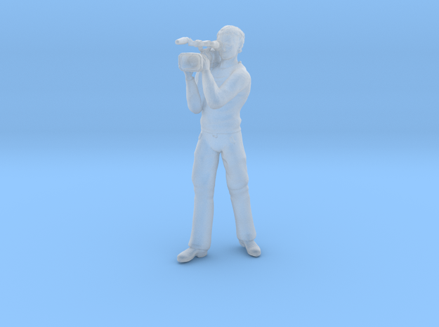 Male Video Cameraman Standing in Smoothest Fine Detail Plastic: 1:64 - S