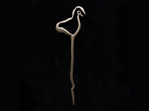 Early - Hair Pin - Ancient Roots in Polished Bronze Steel