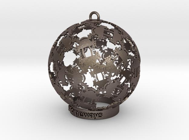 Cat Kaleidoscope Ornament in Polished Bronzed-Silver Steel