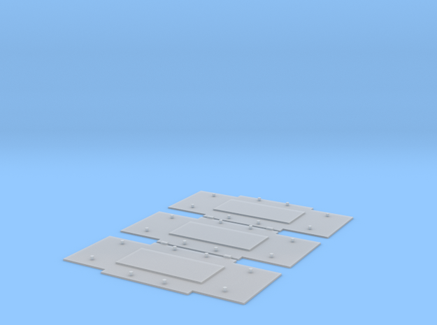 Baseplates for Bedford axleguards, 10ft w/b, x3 in Smooth Fine Detail Plastic