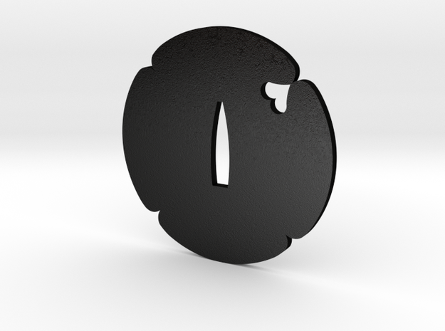 Tsuba mokko Inome in Matte Black Steel