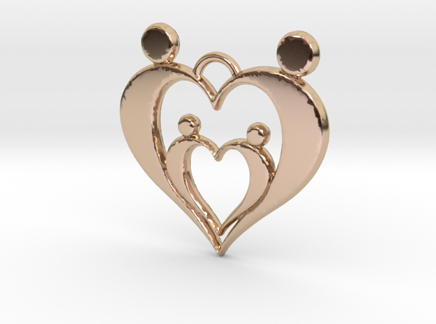Family of Four Heart Shaped Pendant in 14k Rose Gold