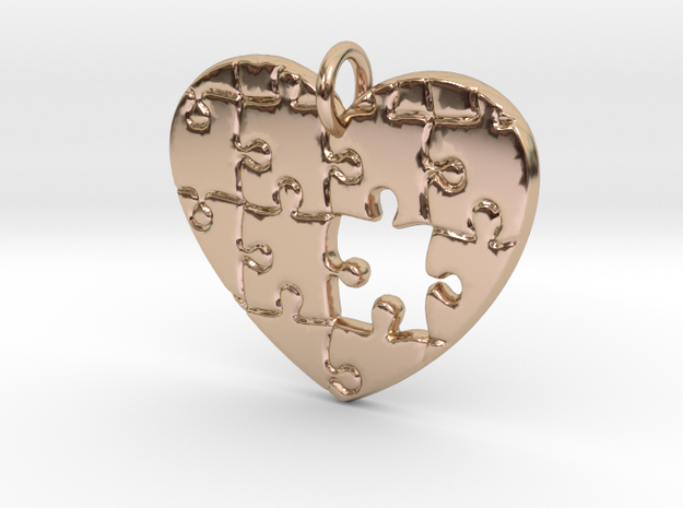 Puzzled Heart Pendant in 14k Rose Gold