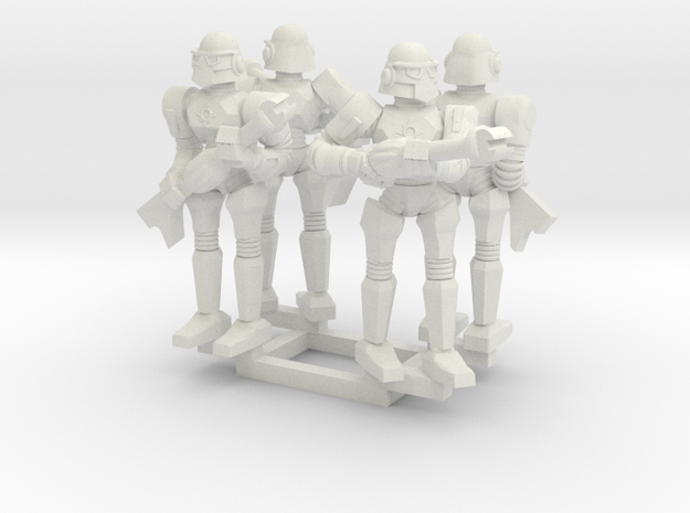 Minion Bots Posed Four in White Natural Versatile Plastic