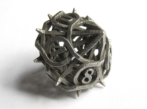 Thorn d10 in Polished Bronzed Silver Steel