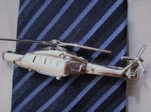 Helicopter tie clip in Rhodium Plated Brass