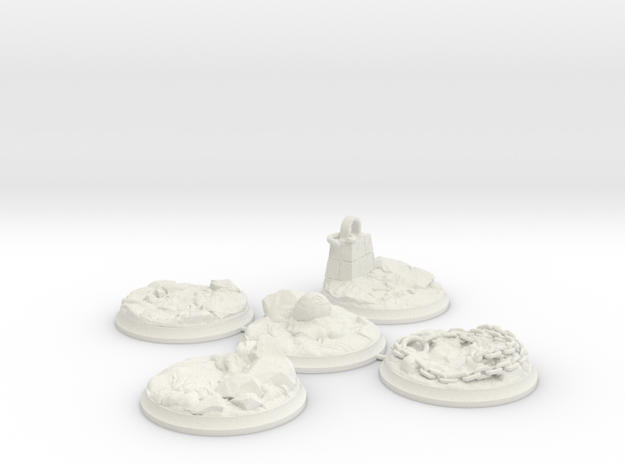 "Set of five 40 mm Bases for my ""Lava World"" series in White Premium Versatile Plastic"