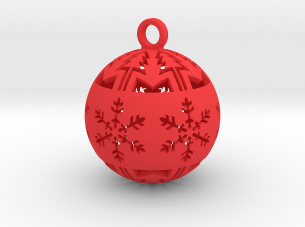 Large Christmas tree ball in Red Processed Versatile Plastic