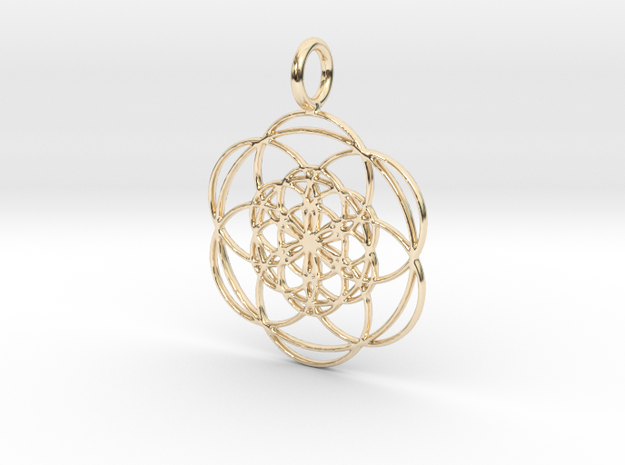 Seed of Life within Seed of Life 40mm 34mm in 14k Gold Plated Brass: Large