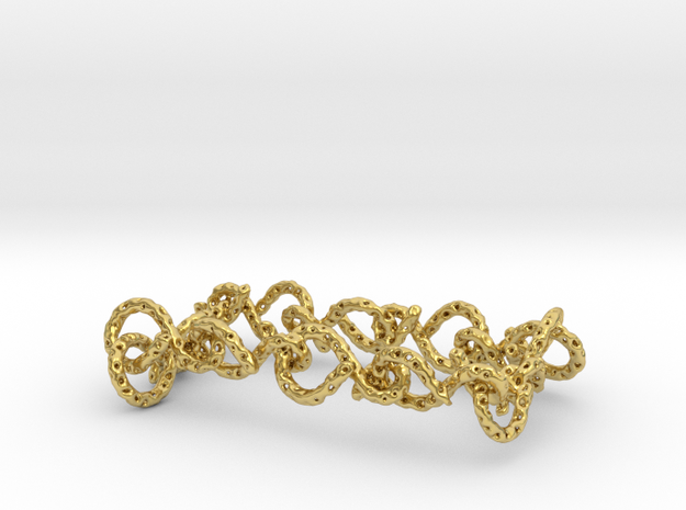 infinity_earring_ voronoi in Polished Brass