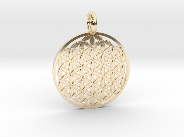 Flower of Life Pendant 22mm and 30mm in 14k Gold Plated Brass: Medium