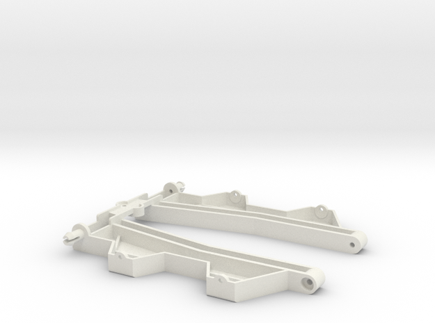 """Wide sidepans for """"Back to '60"""" slotcar chassis in White Natural Versatile Plastic"""
