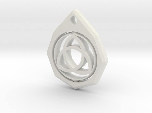 Triquetra Keychain  in White Natural Versatile Plastic