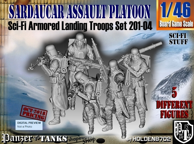 1/46 Sci-Fi Sardaucar Platoon Set 201-04 in Smooth Fine Detail Plastic