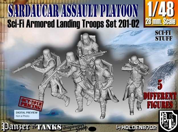 1/48 Sci-Fi Sardaucar Platoon Set 201-02 in Smoothest Fine Detail Plastic