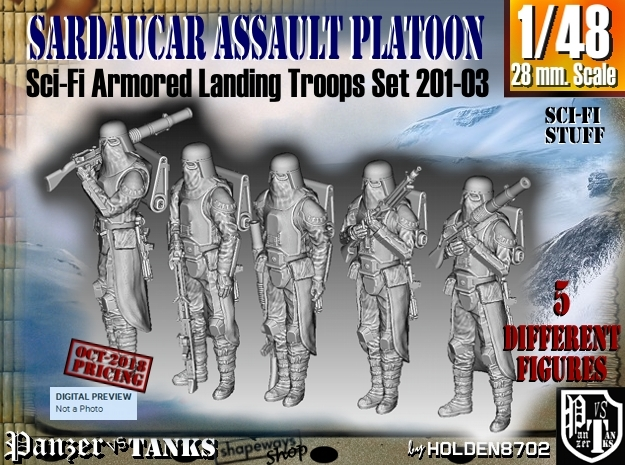 1/48 Sci-Fi Sardaucar Platoon Set 201-03 in Smoothest Fine Detail Plastic