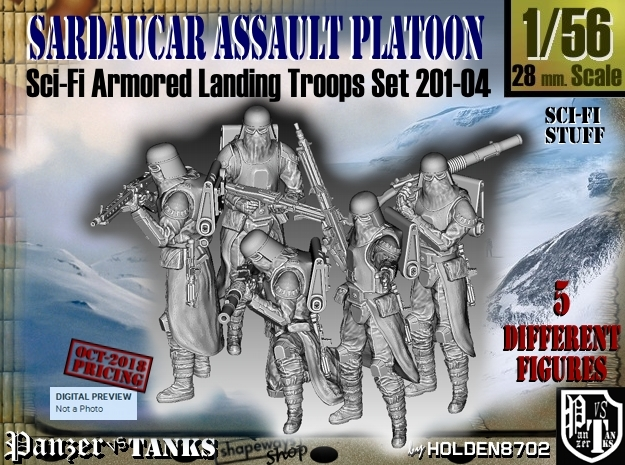 1/56 Sci-Fi Sardaucar Platoon Set 201-04 in Smoothest Fine Detail Plastic