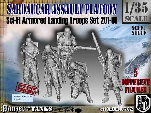 1/35 Sci-Fi Sardaucar Platoon Set 201-01 in Smooth Fine Detail Plastic