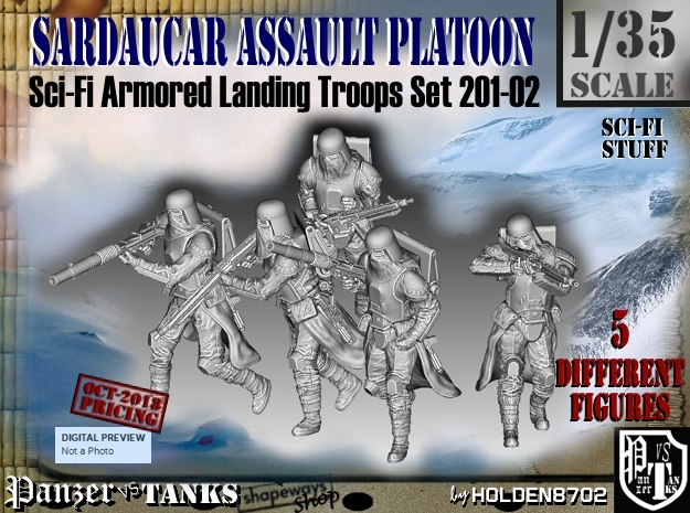 1/35 Sci-Fi Sardaucar Platoon Set 201-02 in Smooth Fine Detail Plastic