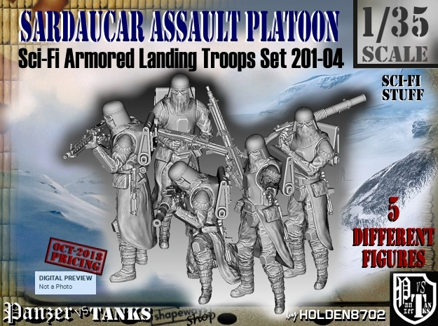 1/35 Sci-Fi Sardaucar Platoon Set 201-04 in Smooth Fine Detail Plastic