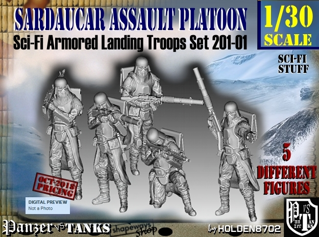 1/30 Sci-Fi Sardaucar Platoon Set 201-01 in Smooth Fine Detail Plastic