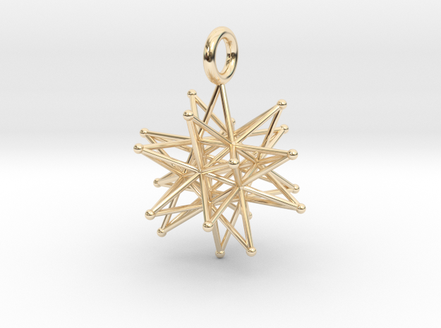 stellated icosa 26mm and 37mm in 14k Gold Plated Brass: Medium