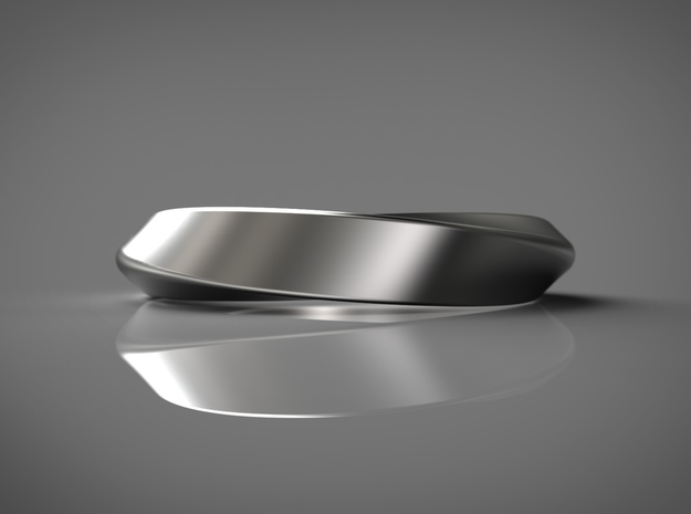 3/4 Mobius Ring (Inside diameter 16.6 mm) in Fine Detail Polished Silver
