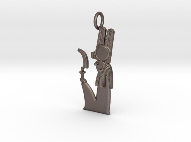 Montu amulet in Polished Bronzed-Silver Steel