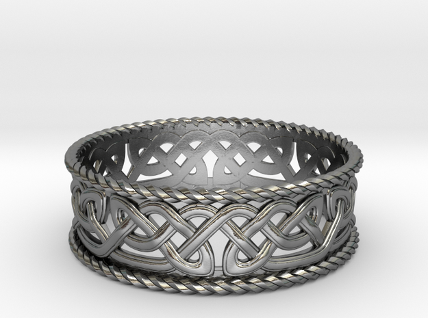 Interwoven Celtic Knot Ring 2 in Polished Silver: 8.25 / 57.125
