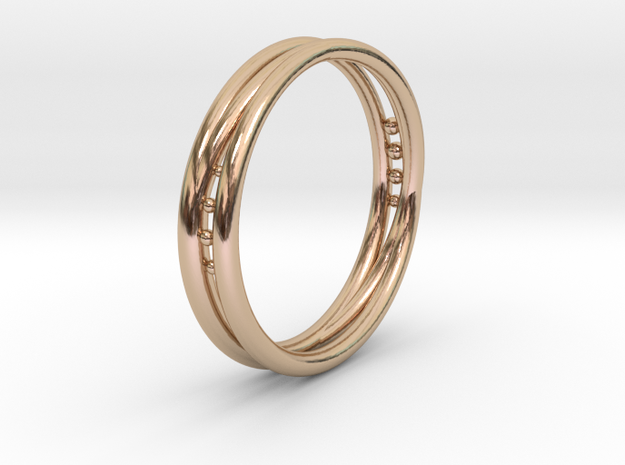 3 Loops Ring in 14k Rose Gold Plated Brass