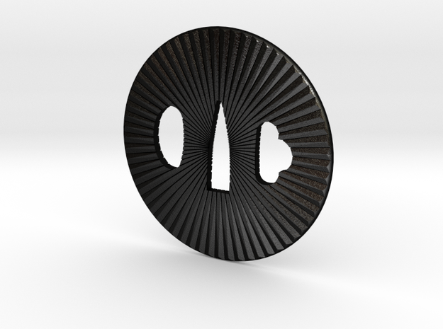 Tsuba solid kiku in Matte Black Steel