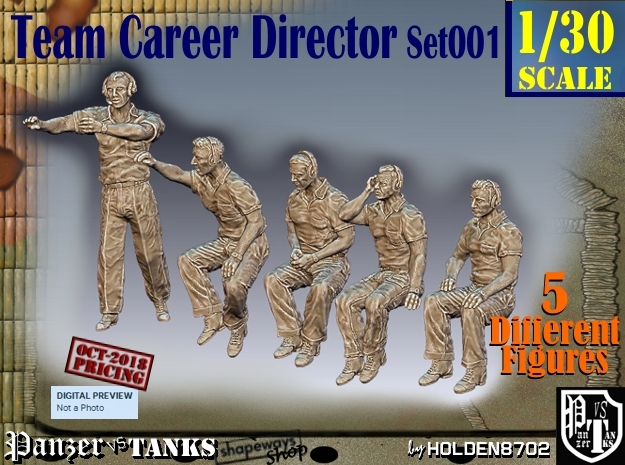 1/30 team career director Set001 in White Natural Versatile Plastic
