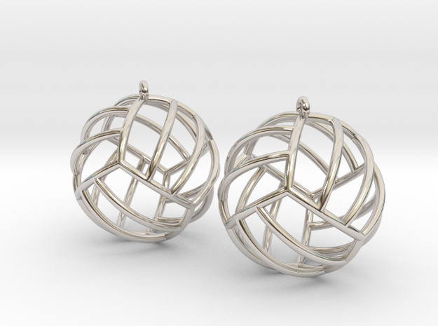 Pair of Volleyball Earrings in Rhodium Plated Brass