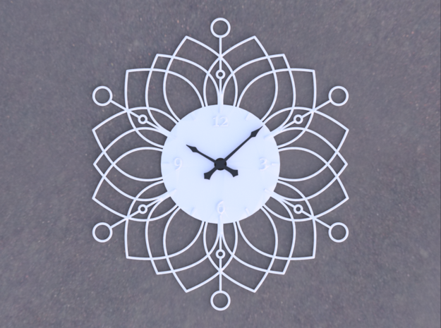 Sunburst Clock - Deanna in White Natural Versatile Plastic