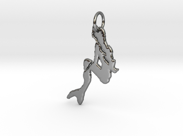 Neptina Pendant in Fine Detail Polished Silver: Large